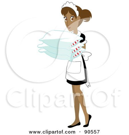 Royalty-Free (RF) Clipart Illustration of a Hispanic Maid Carrying Pillows by Rosie Piter