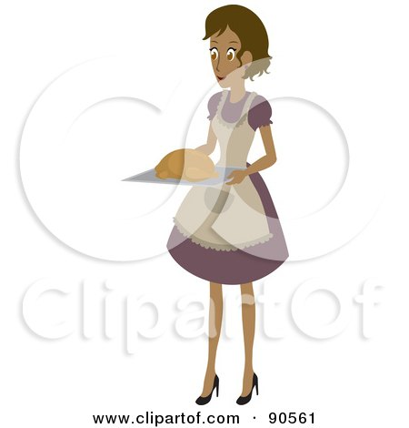 Royalty-Free (RF) Clipart Illustration of a Hispanic Woman Carrying A Turkey On A Tray by Rosie Piter