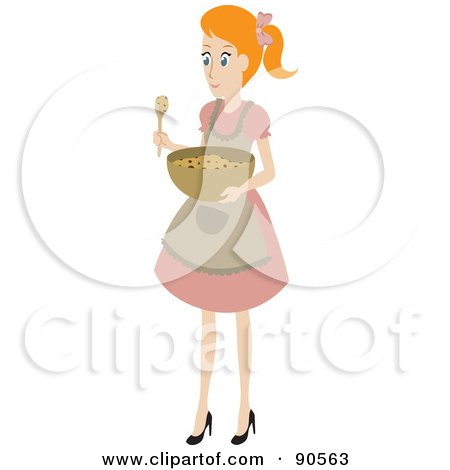 Royalty-Free (RF) Clipart Illustration of a Caucasian House Wife Mixing A Bowl Of Cookie Dough by Rosie Piter
