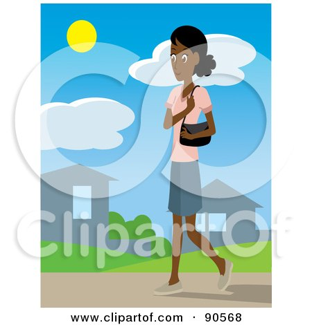 Royalty-Free (RF) Clipart Illustration of an Indian or African Woman With A Purse, Walking Through A Neighborhood by Rosie Piter