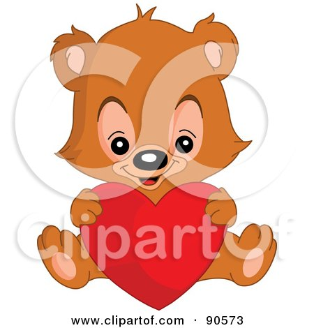Royalty-Free (RF) Clipart Illustration of a Teddy Bear Sitting And Holding A Big Red Heart by yayayoyo