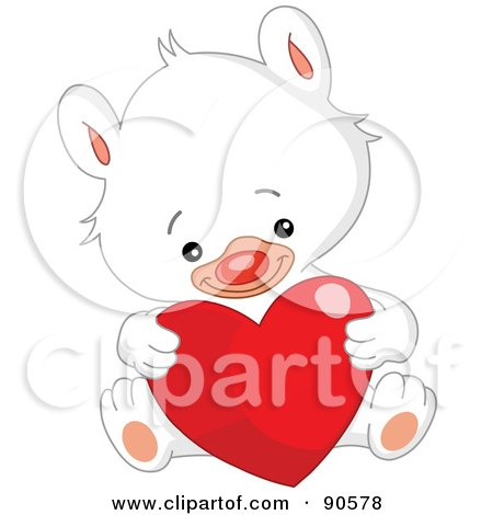 Royalty-Free (RF) Clipart Illustration of a Cute White Teddy Bear Sitting And Holding A Shiny Heart by yayayoyo