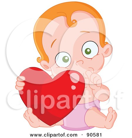 Royalty-Free (RF) Clipart Illustration of a Cute Baby Sucking Her Thumb And Holding A Heart by yayayoyo