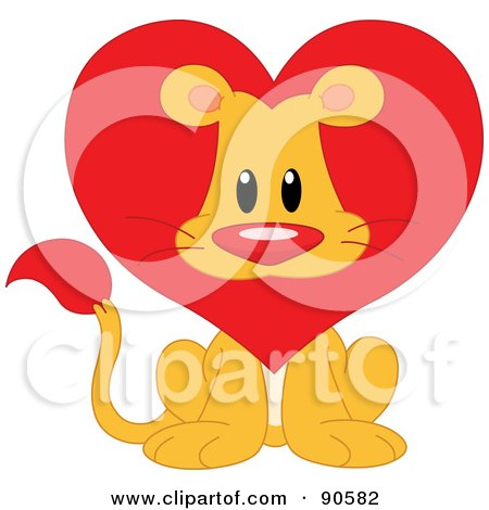 Royalty-Free (RF) Clipart Illustration of a Cute Lion Valentine With A Heart Mane by yayayoyo