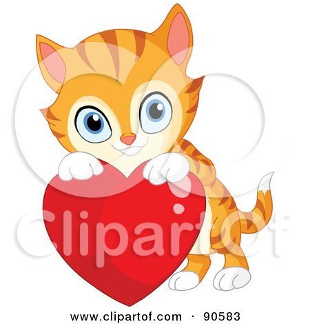 Royalty-Free (RF) Clipart Illustration of a Cute Orange Kitten Looking Over A Red Heart by yayayoyo