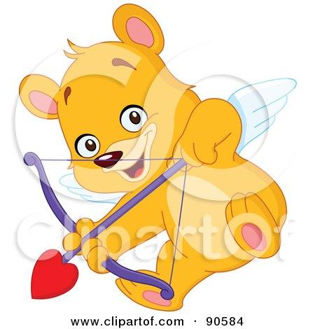 Royalty-Free (RF) Clipart Illustration of a Cupid Teddy Bear Shooting An Arrow by yayayoyo