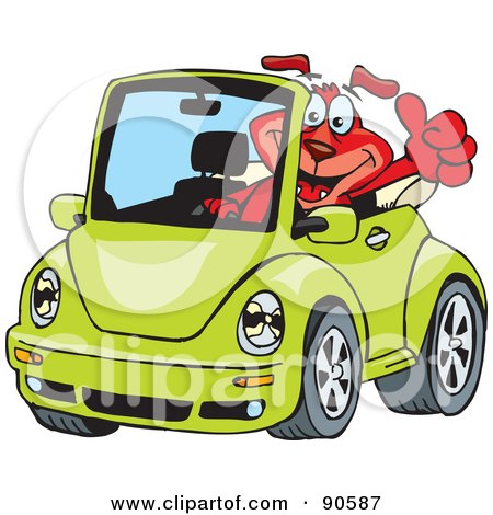 volkswagen beetle convertible red. Red Dog Driving A Green Slug
