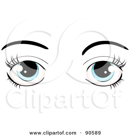 Royalty-Free (RF) Clipart Illustration of a Woman's Blue Eyes Dressed Up With Dark Eyelashes And Eyebrows by elaineitalia