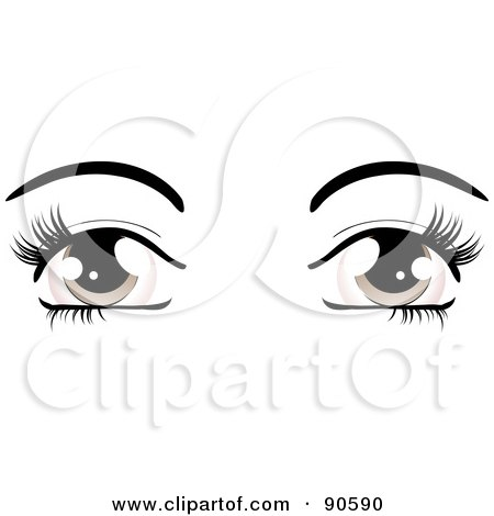 Royalty-Free (RF) Clipart Illustration of a Woman's Brown Eyes Dressed Up With Dark Eyelashes And Eyebrows by elaineitalia