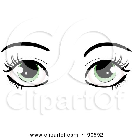 Royalty-Free (RF) Clipart Illustration of a Woman's Green Eyes Dressed Up With Dark Eyelashes And Eyebrows by elaineitalia