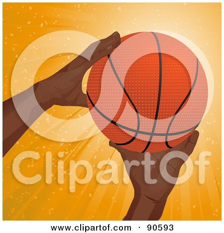 Royalty-Free (RF) Clipart Illustration of a Black Man's Hands Reaching For A Basketball by elaineitalia