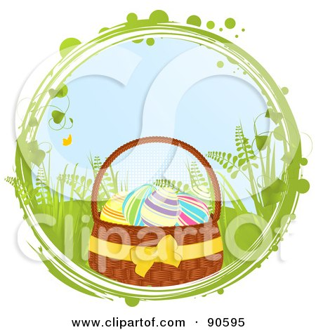 Royalty-Free (RF) Clipart Illustration of a Basket Of Colorful Easter Eggs In A Grungy And Vine Circle Over White by elaineitalia