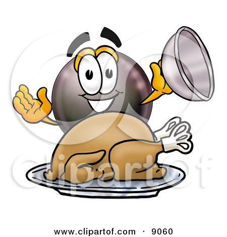 Clipart Picture of an Eight Ball Mascot Cartoon Character Serving a Thanksgiving Turkey on a Platter by Toons4Biz