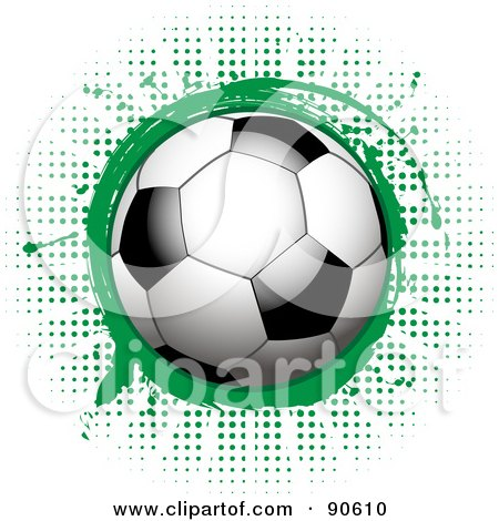 Royalty-Free (RF) Clipart Illustration of a Shiny Soccer Ball Over A Green Splatter On Halftone by elaineitalia