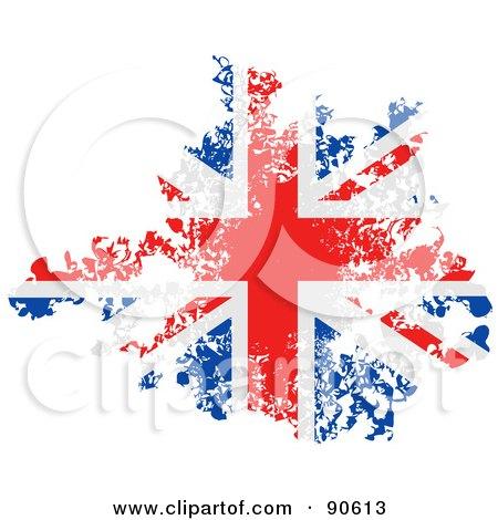 Royalty-Free (RF) Clipart Illustration of a Grungy Distressed Union Jack Flag by elaineitalia
