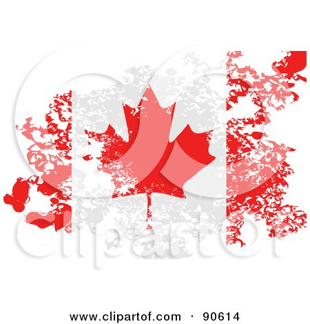 Royalty-Free (RF) Clipart Illustration of a Grungy Distressed Canadian Flag by elaineitalia