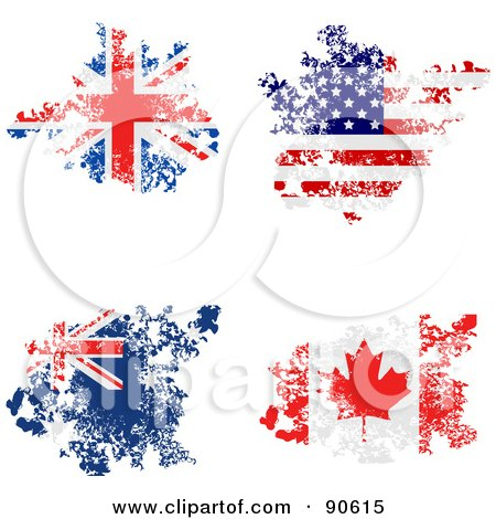 Royalty-Free (RF) Clipart Illustration of a Digital Collage Of Grungy Distressed Union Jack, America, Australian And Canadian Flags by elaineitalia