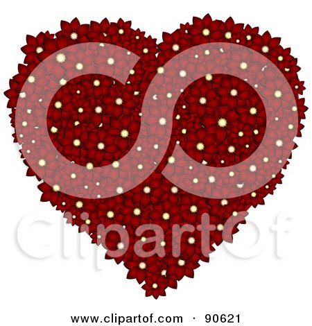 Royalty-Free (RF) Clipart Illustration of a Floral Heart Formed Of Deep Red Daisy Flowers by elaineitalia