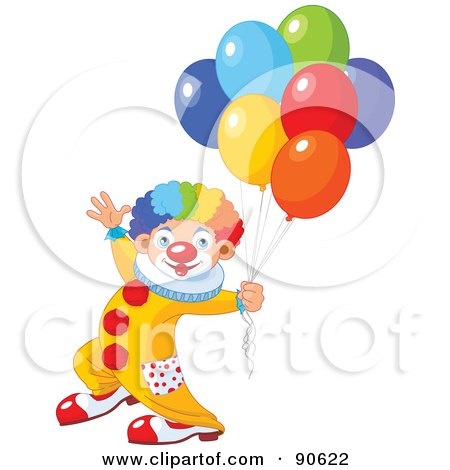 Royalty-Free (RF) Clipart Illustration of a Male Birthday Clown With Balloons by Pushkin