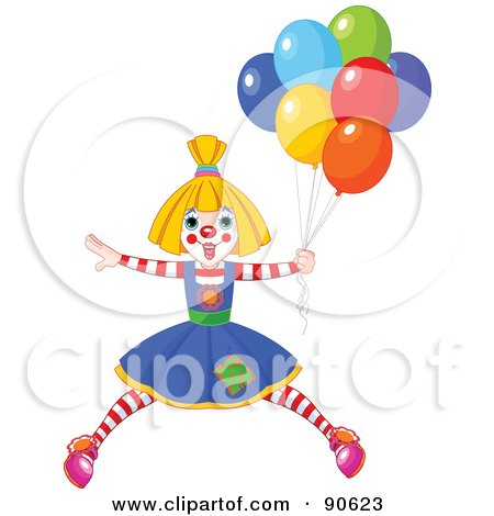 Royalty-Free (RF) Clipart Illustration of a Female Birthday Clown With Balloons by Pushkin