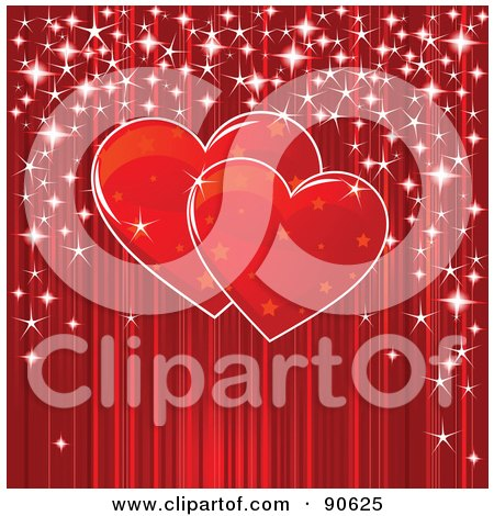 Royalty-Free (RF) Clipart Illustration of a Pair Of Starry Red Hearts With Sparkles Over Red by Pushkin
