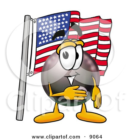 Clipart Picture of an Eight Ball Mascot Cartoon Character Pledging Allegiance to an American Flag by Toons4Biz