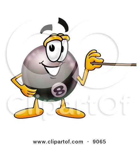 Clipart Picture of an Eight Ball Mascot Cartoon Character Holding a Pointer Stick by Toons4Biz