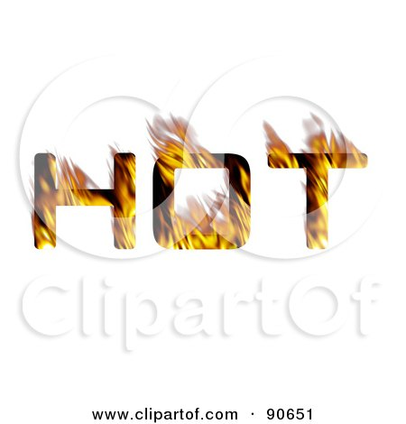 Royalty-Free (RF) Clipart Illustration of The Word Hot With Orange Flames by Arena Creative