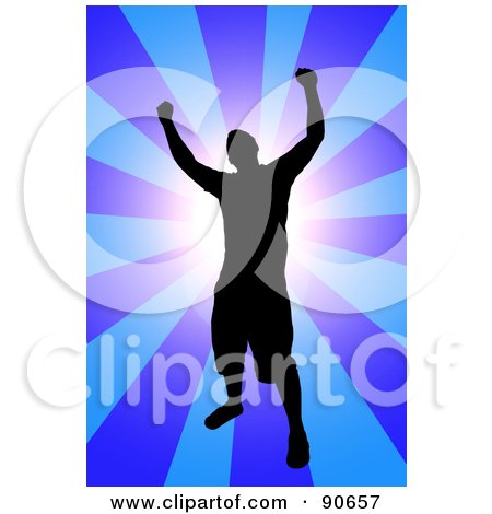Royalty-Free (RF) Clipart Illustration of a Successful Male Silhouetted Over A Blue Burst by Arena Creative