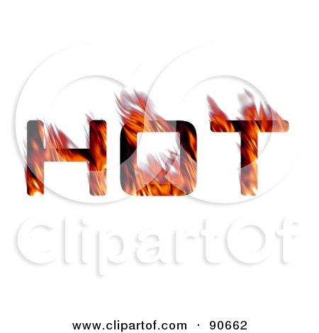 Royalty-Free (RF) Clipart Illustration of The Word Hot With Red Flames by Arena Creative