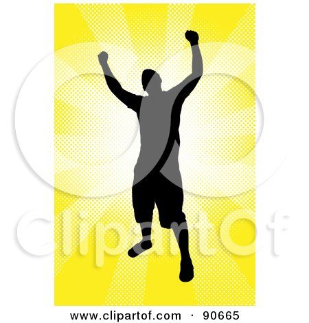 Royalty-Free (RF) Clipart Illustration of a Successful Male Silhouetted Over A Yellow Burst by Arena Creative
