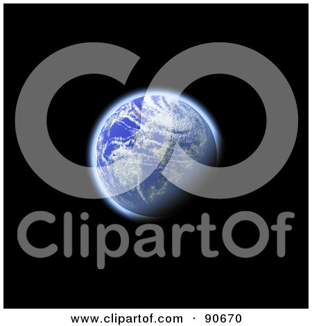 Royalty-Free (RF) Clipart Illustration of The Earth In 3d Over Black by Arena Creative