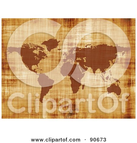 Royalty-Free (RF) Clipart Illustration of a Grungy Textured World Map In Brown by Arena Creative