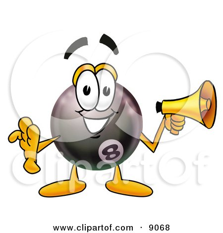 Clipart Picture of an Eight Ball Mascot Cartoon Character Holding a Megaphone by Toons4Biz