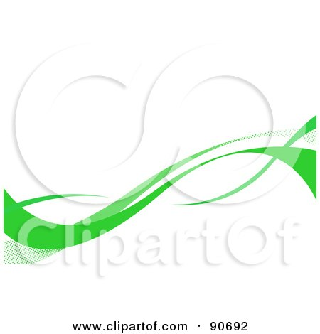 Royalty-Free (RF) Clipart Illustration of Green Swooshes Over A White Background by Arena Creative