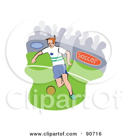 Royalty-Free (RF) Clipart Illustration of a Soccer Player Kicking On A Field - Version 3 by Prawny