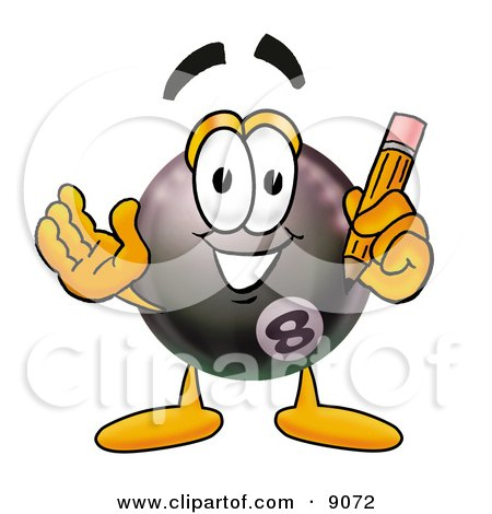 Clipart Picture of an Eight Ball Mascot Cartoon Character Holding a Pencil by Toons4Biz