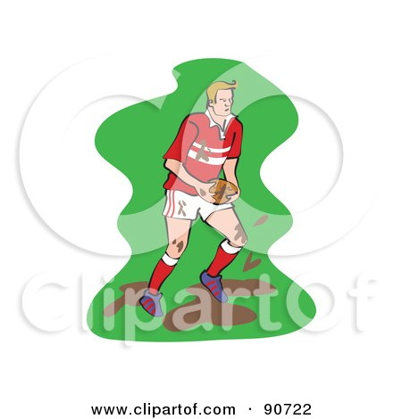 Royalty-Free (RF) Clipart Illustration of a Muddy Rugby Football Player - Version 2 by Prawny