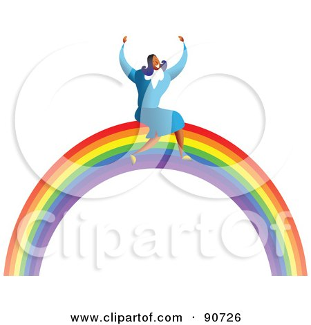 Royalty-Free (RF) Clipart Illustration of a Successful Businesswoman Sitting On A Rainbow by Prawny