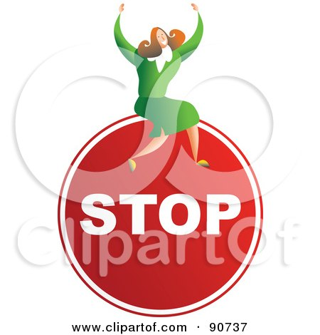 Royalty-Free (RF) Clipart Illustration of a Successful Businesswoman Sitting On A Stop Sign by Prawny