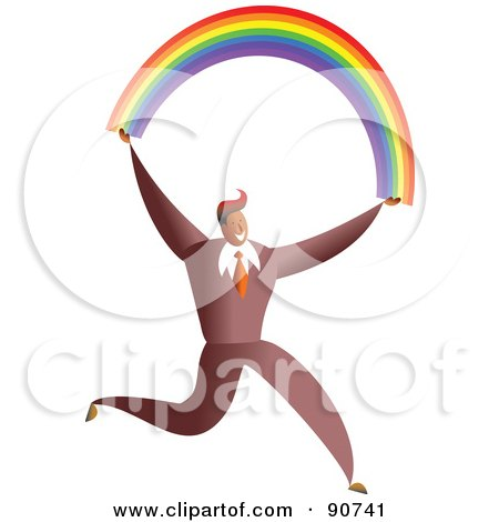 Royalty-Free (RF) Clipart Illustration of a Successful Businessman Carrying A Rainbow by Prawny