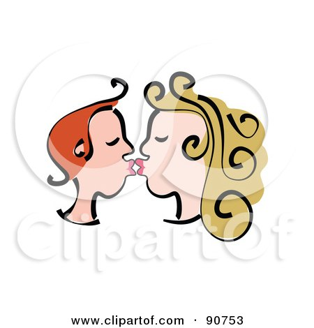Royalty-Free (RF) Clipart Illustration of a Young Profiled Couple Kissing by Prawny