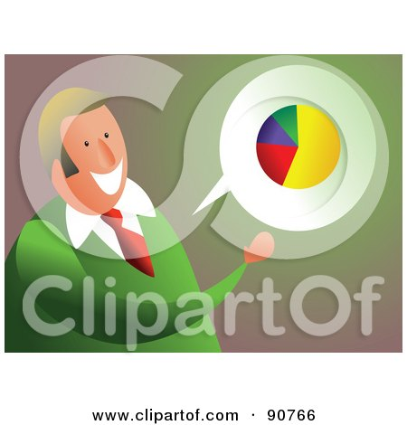 Royalty-Free (RF) Clipart Illustration of a Businessman Discussing A Pie Chart by Prawny