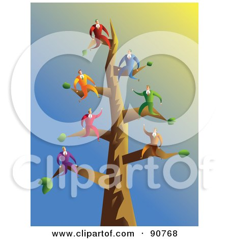 Royalty-Free (RF) Clipart Illustration of a Team Of Businessmen On Tree Branches by Prawny