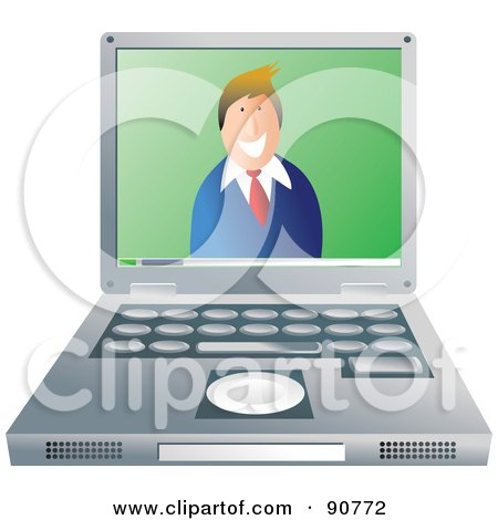Royalty-Free (RF) Clipart Illustration of a Friendly Businessman Smiling On A Laptop Screen by Prawny