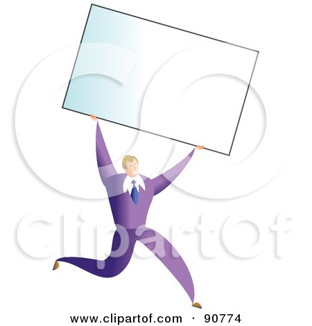 Royalty-Free (RF) Clipart Illustration of a Successful Businessman Carrying A Blank Business Card Over His Head by Prawny
