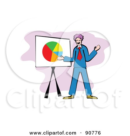 Royalty-Free (RF) Clipart Illustration of a Businessman Standing By A Pie Chart by Prawny