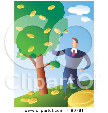Royalty-Free (RF) Clipart Illustration of a Successful Businessman Picking Coins From A Money Tree by Prawny