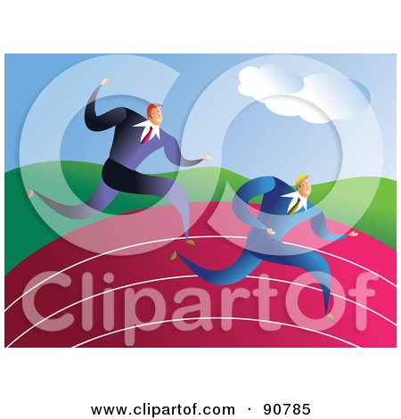 Royalty-Free (RF) Clipart Illustration of Two Racing Businessmen On A Track by Prawny