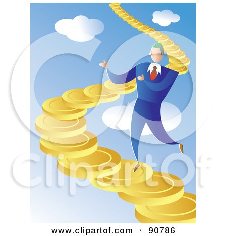 Royalty-Free (RF) Clipart Illustration of a Businessman Walking Up A Coin Staircase In The Sky by Prawny